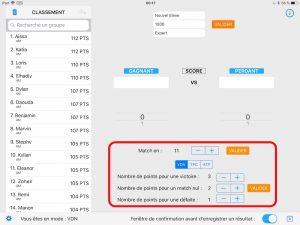 MatchPTS - Modifier les paramètres