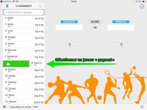 MatchPTS - Sélectionner un joueur gagnant