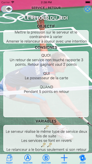 CartEduc Badminton La carte